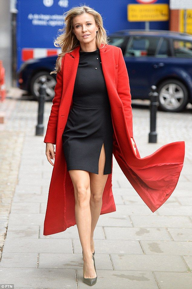Scarlet siren:The stunning Polish model, 38, teamed her revealing dress with a chic scarlet coat as she stepped out after a television appearance in her native Warsaw