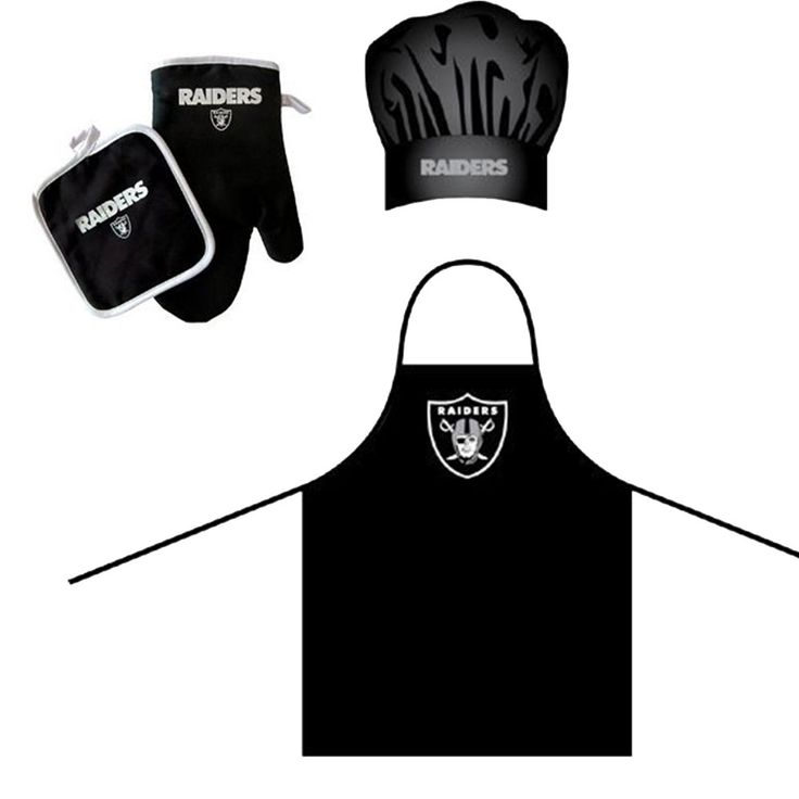 Oakland Raiders NFL Barbeque Apron, Chefs Hat and Pot Holder Deluxe Se