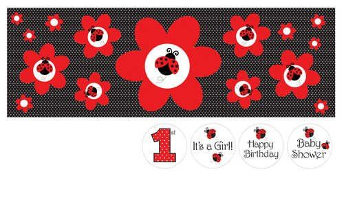 Creative Converting Ladybug Fancy Giant Party Banner with Stickers - List price…