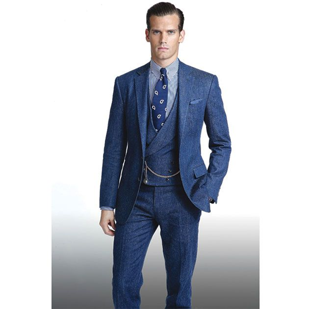 A Denim Suit with wide leg pants by it's very design tells you that these are Mens Fashion Suits and are not for wearing to an office job. A self confident man is just the type of man to wear a Fashionable denim mens suit.