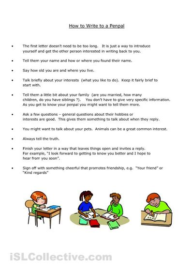 pen pal letter writing template for children