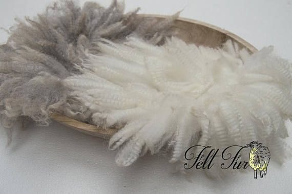 SET 08: Two Fluffy Felted Furs. White Cream/Natural Grey