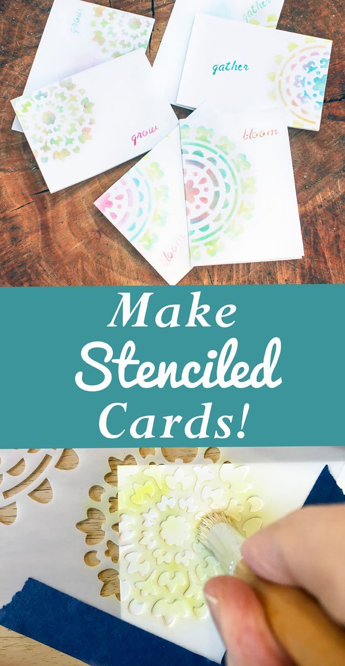 Make Quick Stenciled Greeting Cards In 2018 Card Making Ideas