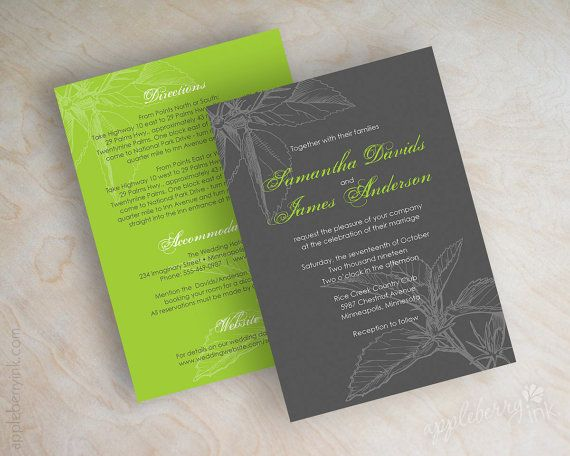 Simple wedding invitations, garden, green wedding stationery, charcoal gray wedding invites, charcoal gray, lime green, free shipping, Alana