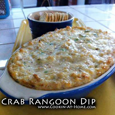 Crab Rangoon Dip -- crab meat, cream cheese, sour cream, green onions, Worcestershire sauce, powdered sugar, garlic powder, lemon juice