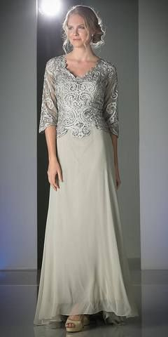 Full Length Mother of Bride Gray Gown 3/4 Length Lace Sleeve