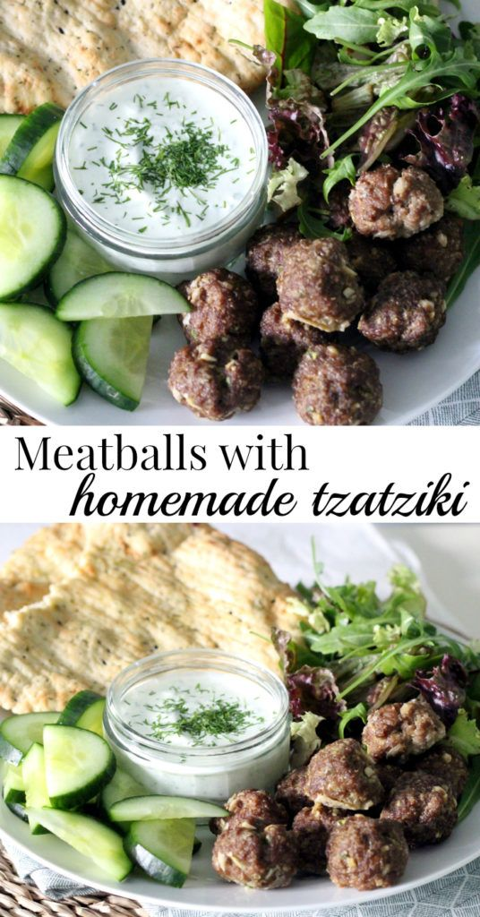 Homemade tzatziki goes together great with meatballs and flatbread. Serve as dinner, lunch or party appetizer: success guaranteed!