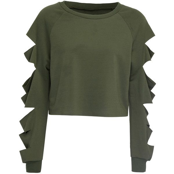 Army Green Cut Out Sleeve Raw Hem Cropped Sweatshirt (39 AUD) ❤ liked on Polyvore featuring tops, cut out sleeve top, olive green crop top, cutout sleeve top, round top and green top