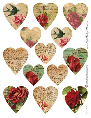 Hearts #11 - French Text & Floral