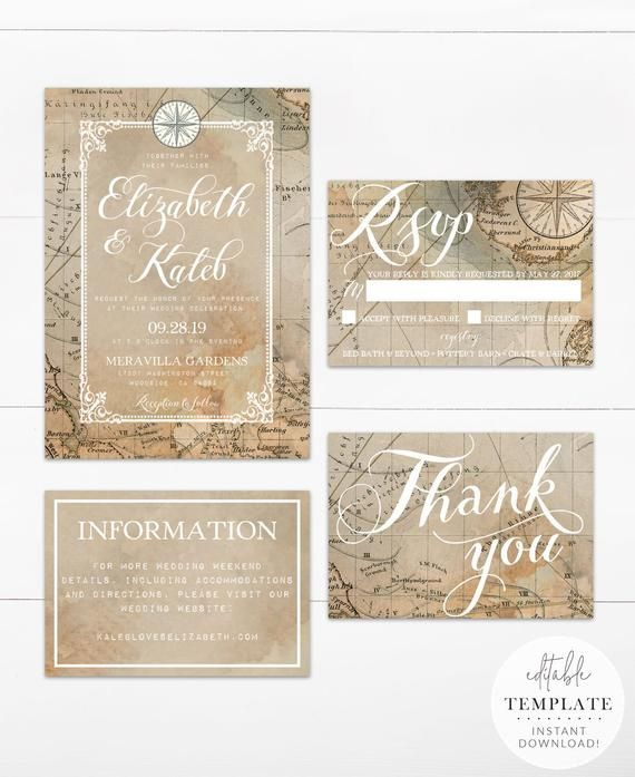 Vintage Travel Wedding Invitation Suite Printable Editable Etsy Travel Wedding Invitations Vintage Travel Wedding Invitations Vintage Travel Wedding