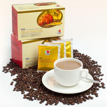 Maca Vita Café:  De zeer succesvolle Vita Cafe is teruggekeerd na een kleine verandering volgens de vraag van de Europese markt. Het bevat koffie poeder gemaakt van de geselecteerde koffiebonen, Ginseng (Panax ginseng) poeder, Maca (Lepidium meyenii) poeder en Ganoderma extract. Het plezier wordt verhoogd met suikerriet en plantaardige koffieroom poeder. http://ganodermakoffie.dxnnet.com/