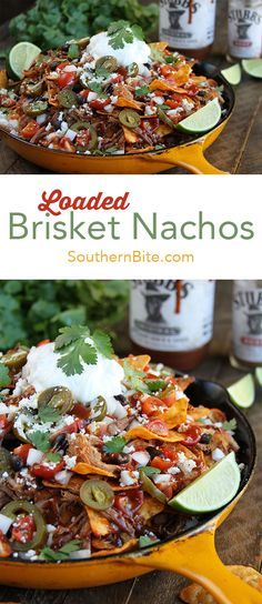 The Slow Cooker does all the hard work with these amazingly delicious LOADED Brisket Nachos!  @StubbsBBQSauce makes them even better!