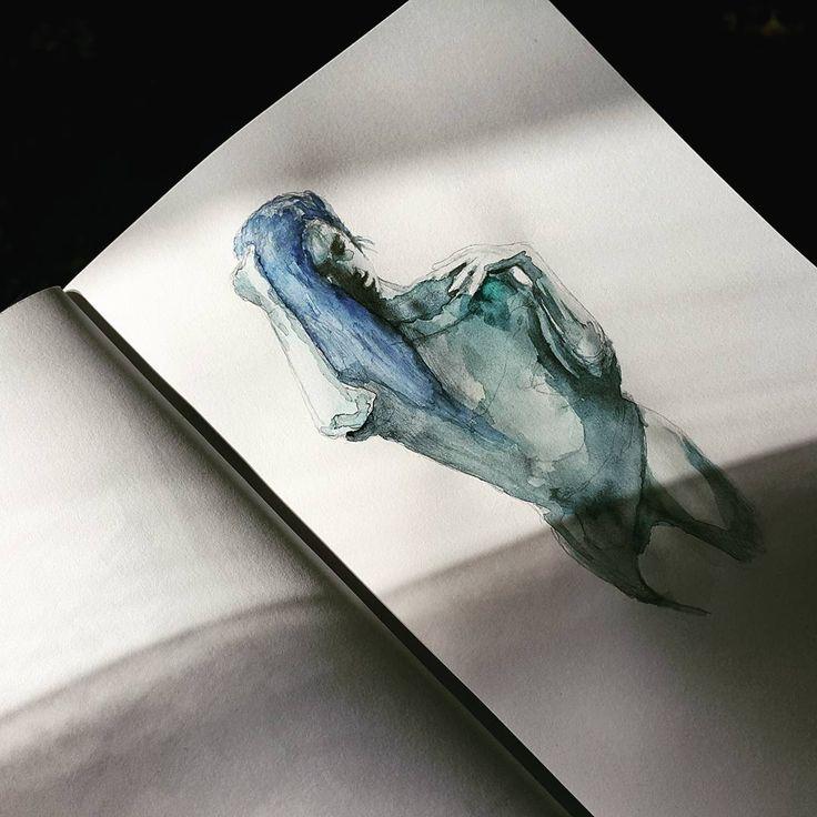 Акварельная девушка. Этюд в синих тонах.  #drawing #illustration #watercolor #portrait #sketch #pencil #sketchbook #art #artwork #painting #eskiz #girl #портрет #рисунок #карандаш #набросок #эскиз #акварель #девушка