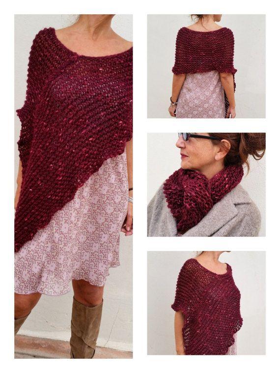 Poncho rouge foncé châle marron laine tricot châle rouge