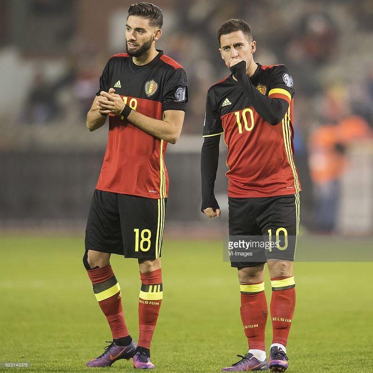 Yannick Carrasco of Belgium, Eden Hazard of Belgiumduring the FIFA World Cup 2018 qualifying match between Belgium and Estonia on November 13, 2016 at the Koning Boudewijn stadium in Brussels, Belgium.