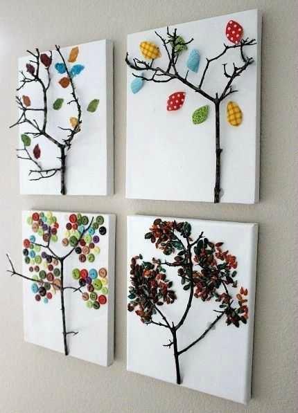 Une toile, une branche d'arbre, des boutons, des papiers rigolos, des graines