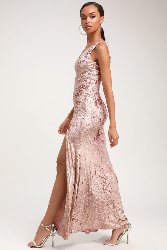 b07b4033a983 Lulus Exclusive! Look and feel like a goddess in the Lulus Krista Mauve  Velvet Sleeveless