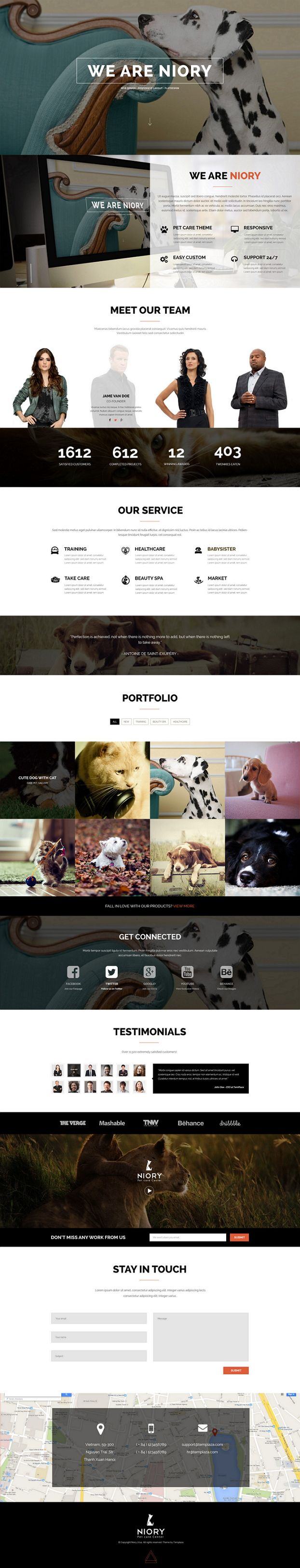Niory is a Fully responsive Joomla Template and Multipurpose template based on Bootstrap 3.1. framework.This great Joomla template is very suitable for Pet Care or any sites related Corporations, Companies and Enterprises, even Personal site. on