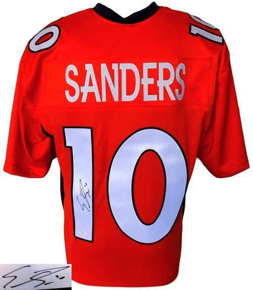 EMMANUEL SANDERS SIGNED CUSTOM ORANGE PRO-STYLE FOOTBALL JERSEY JSA