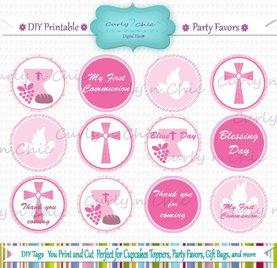 INSTANT DOWNLOAD First Communion Party Favor Toppers by CurlynChic