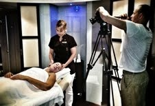 Simon setting up filming a luxury spa