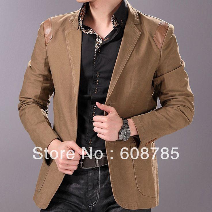 Пиджаки хаки / черный / коричневый 2013 весна свободного покроя куртка мужская мода тонкий небольшой пиджак мужской костюмы бесплатная доставка B0589