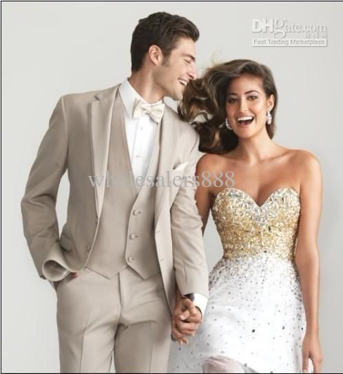 Wholesale Groom Tuxedos - Buy Custom Made Beige Two Buttons Groom Tuxedos Notch Lapel Best Man Groomsman Men Wedding Suits Bridegroom Jacket+Pants+Tie+Vest J166, $109.0   DHgate
