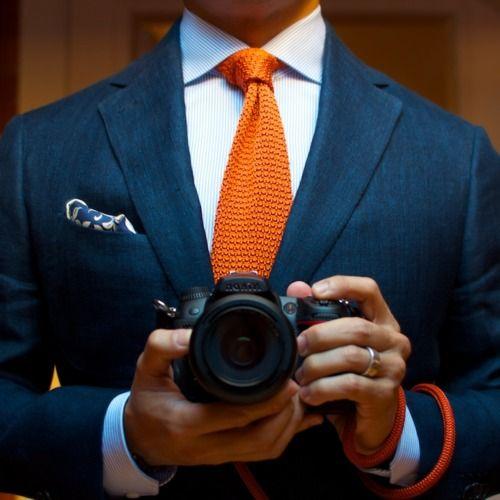 \\ brushed denim jacket, pinstripe shirt, orange tie and blue & white ikat PS