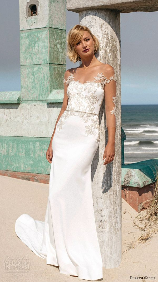 off the shoulder embroidery lace strap sweetheart neckline embroideried bodice emily sheath wedding dress