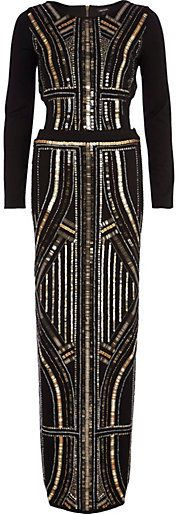 Womens Black sequin embellished mesh maxi dress River Island From China Free Shipping Affordable Looking For Cheap Online Outlet 2018 Find Great For Sale 6OFtFTqZ