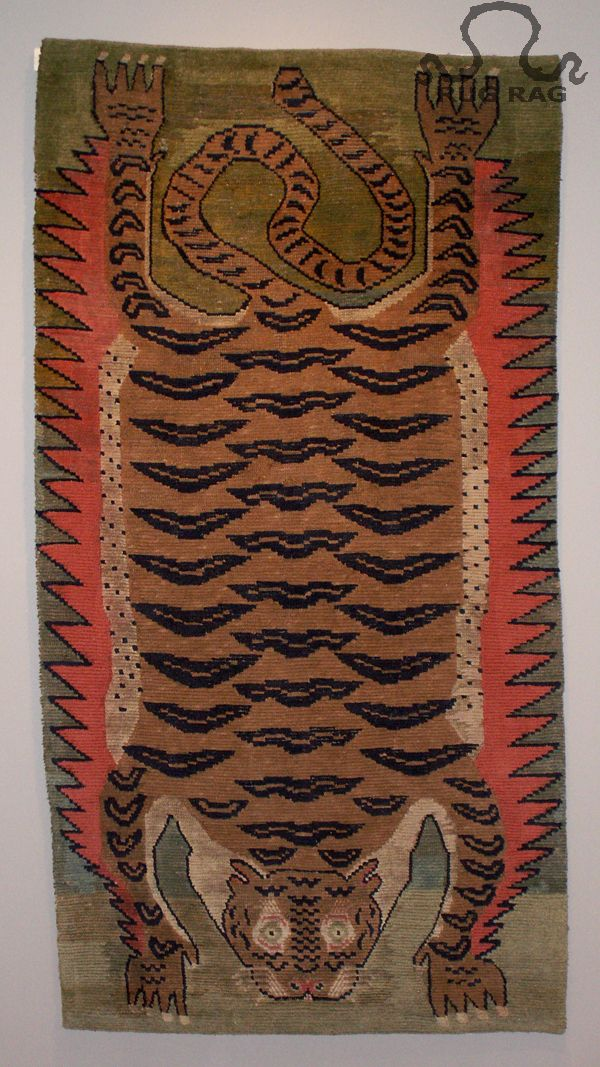 Rug 15: Antique Tantric Carpet Tiger Pelt On Moss Field
