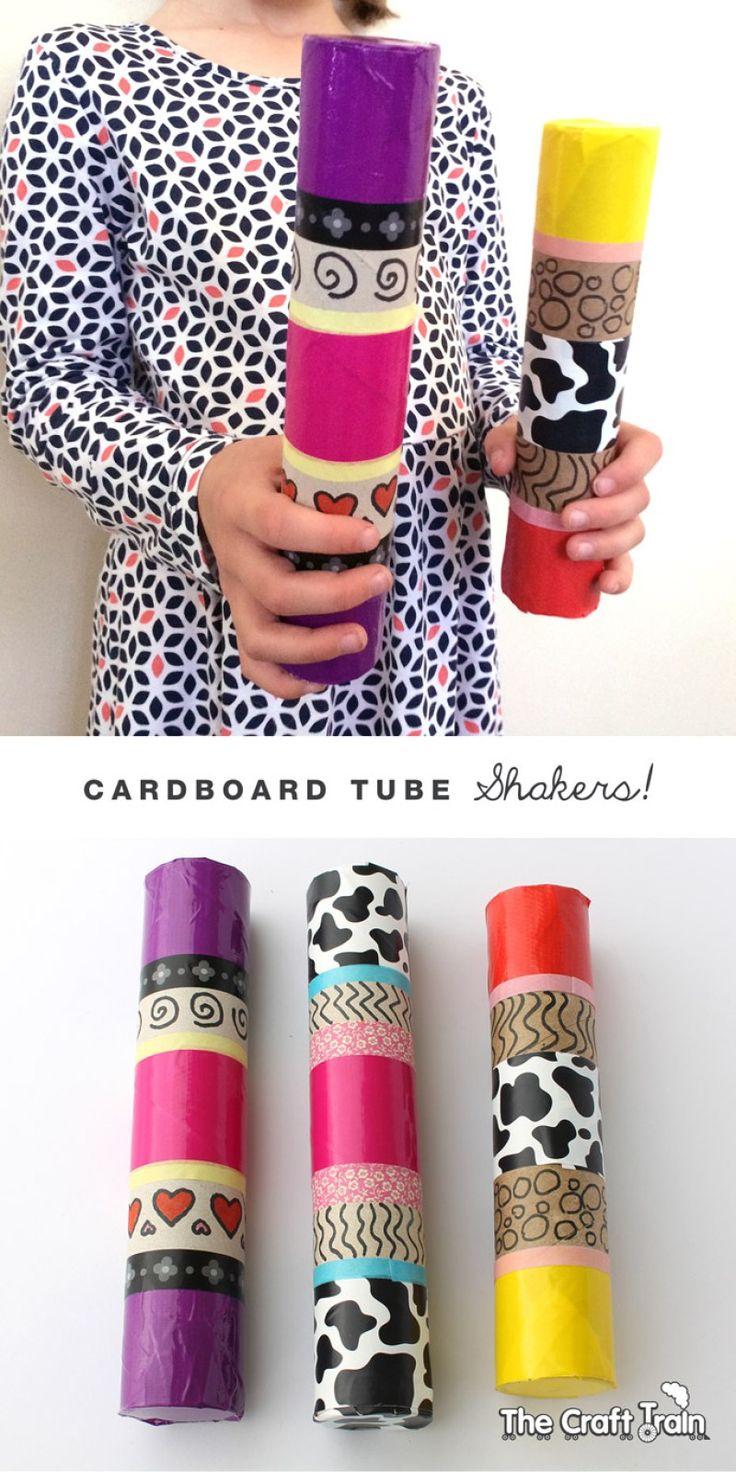 DIY rain shakers using cardboard rolls, rice and washi tape