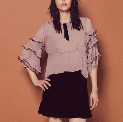 Purple ruffle tops for women three quarter sleeve chiffon blouse