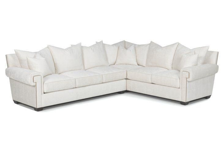 Emile sectional sofa with studded nailheads and scroll for Studded sofa sets