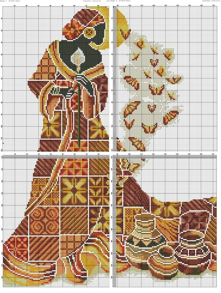 0 point de croix femme africaine et papillons- cross stitch african lady and butterflies