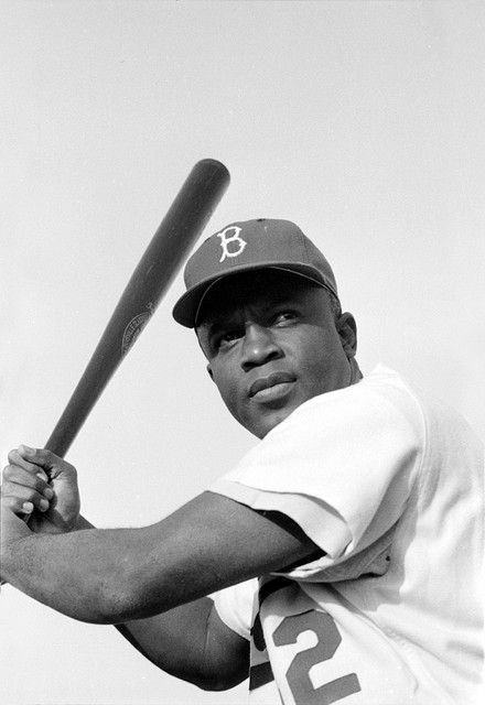 Jackie Robinson, Brooklyn Dodgers, by Bob Sandberg, 1954