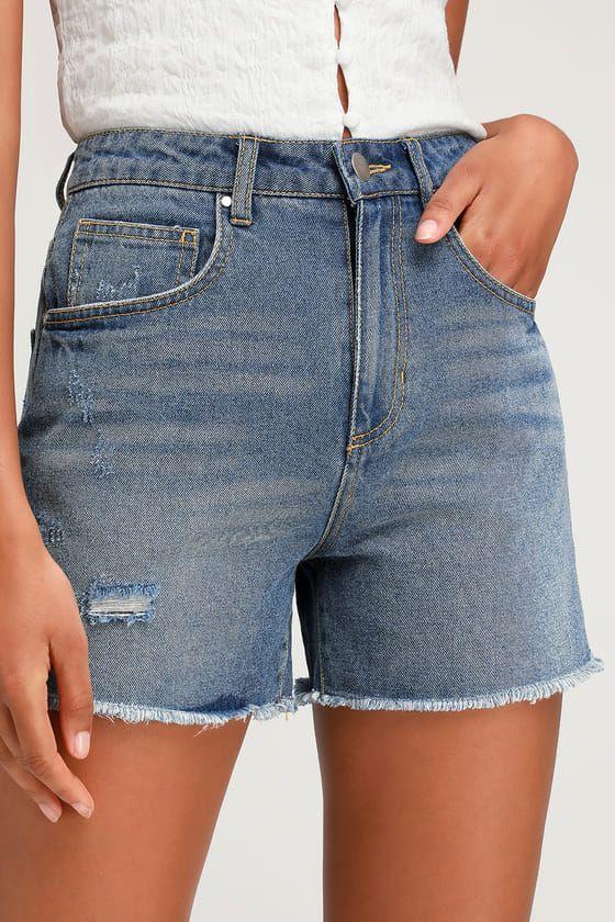 Lulus | Carrington Medium Wash Long Denim Cutoff Shorts | Size 24 | Blue | 100% Cotton