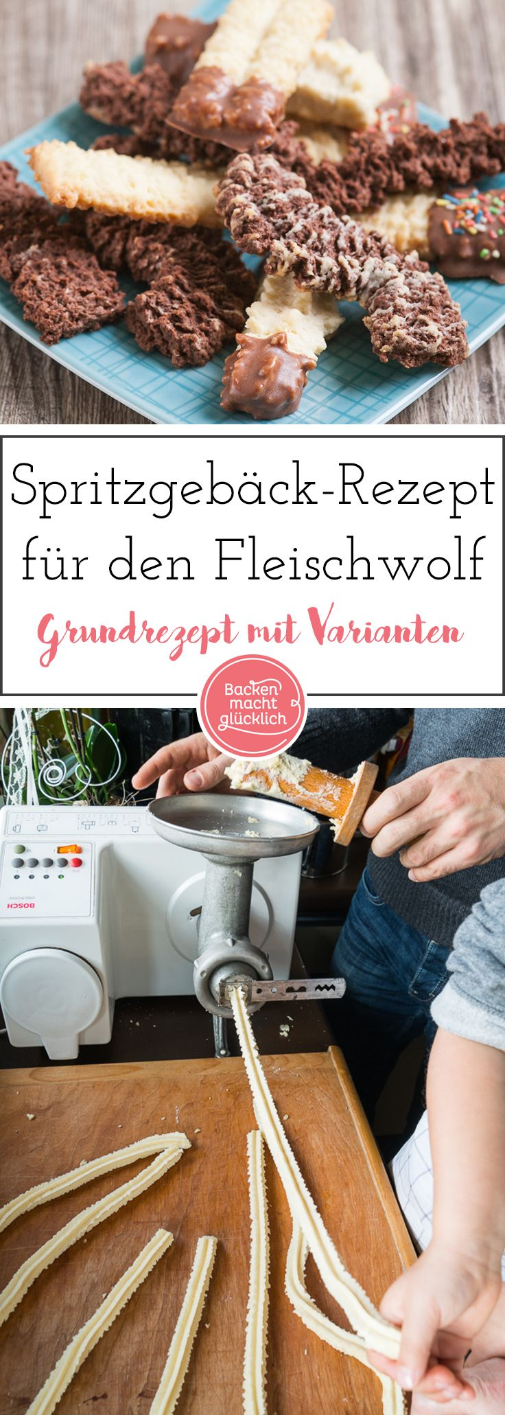 Unser bestes Spritzgebäck-Rezept. Das Spritzgebäck wird am einfachsten im Fleischwolf gemacht. So werden die typischen Spritzgebäck-Kringel besonders schön.