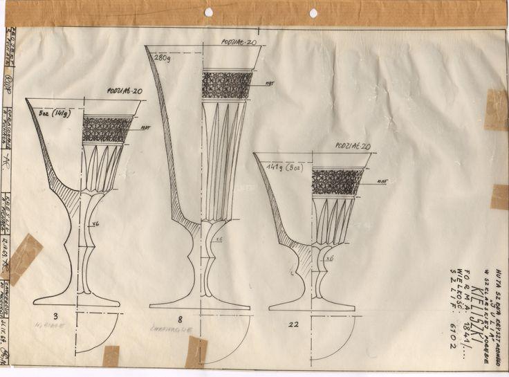 Projekt kieliszków Regina Włodarczyk Puchała 1969 / Designed by Regina Włodarczyk Puchała