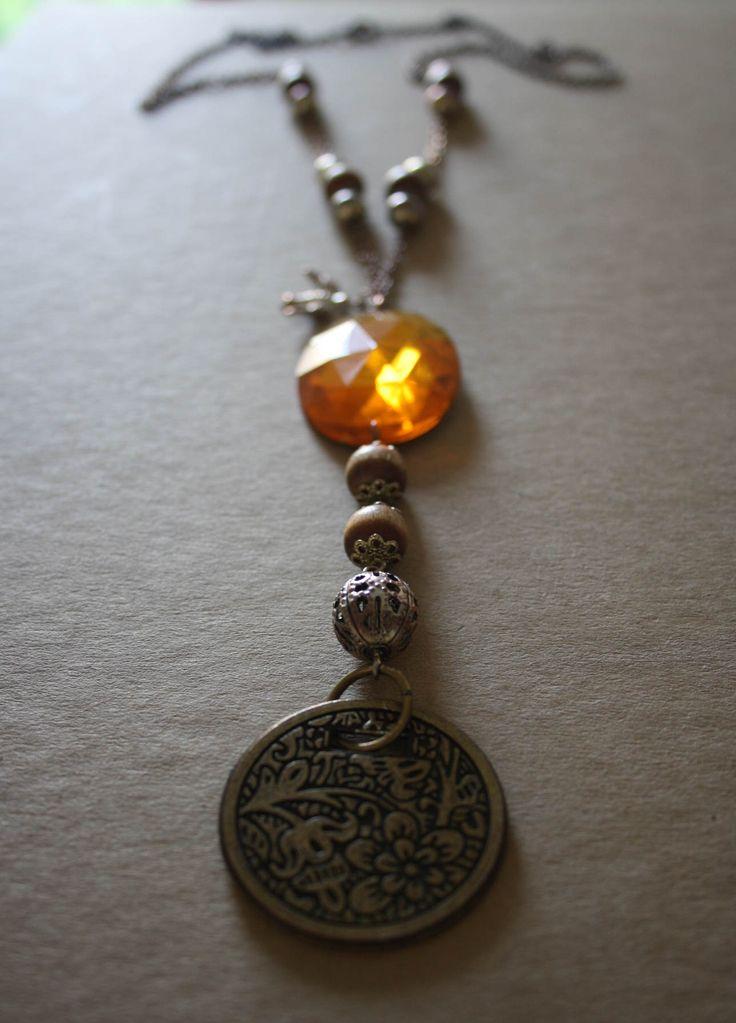 Handmade Necklace with fake orange diamond