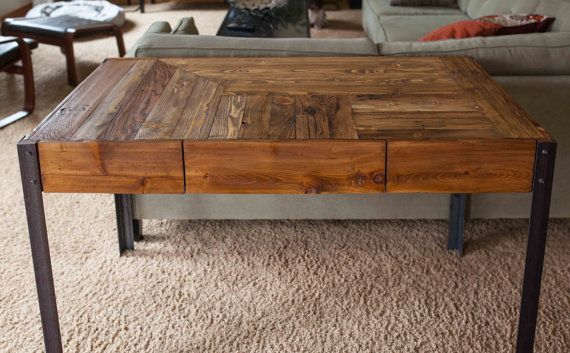 Pallet Wood Desk with Metal Legs and Two by woodandwiredesigns