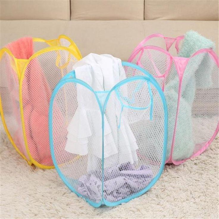Pop Up Hamper For Home Laundry Mesh Clothes Basket Storage Foldable Organizer #Unbranded