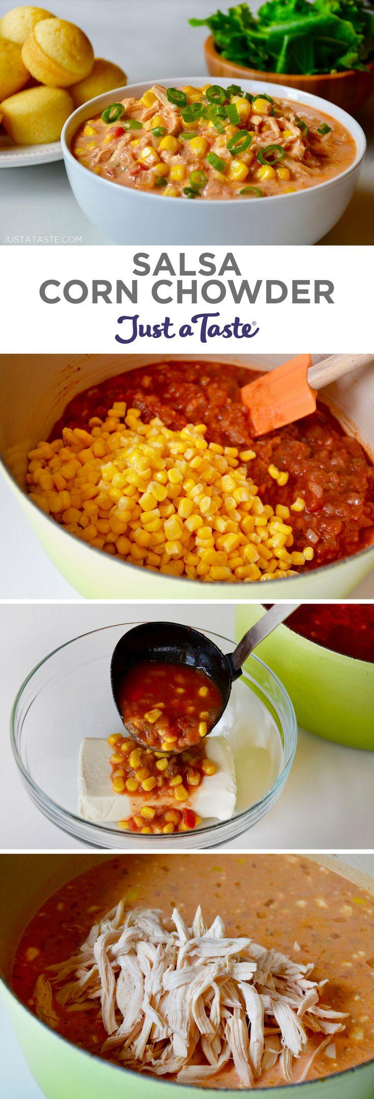 Salsa Corn Chowder recipe from justataste.com #recipes #comfortfood #corn