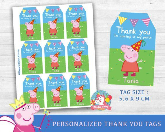 Peppa Pig Thank You Tags Custom Personalized Party Supplies Peppa