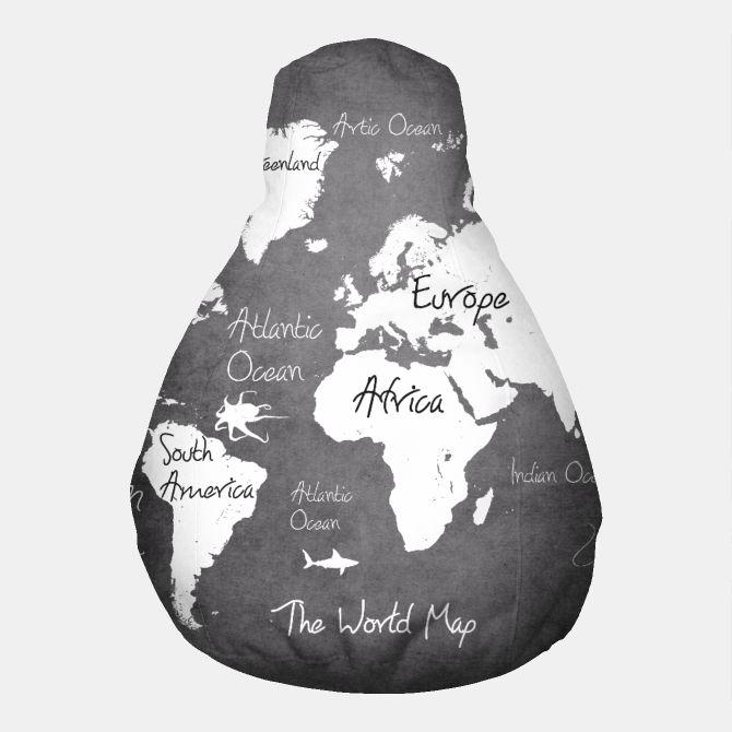 world map black and white Pufa