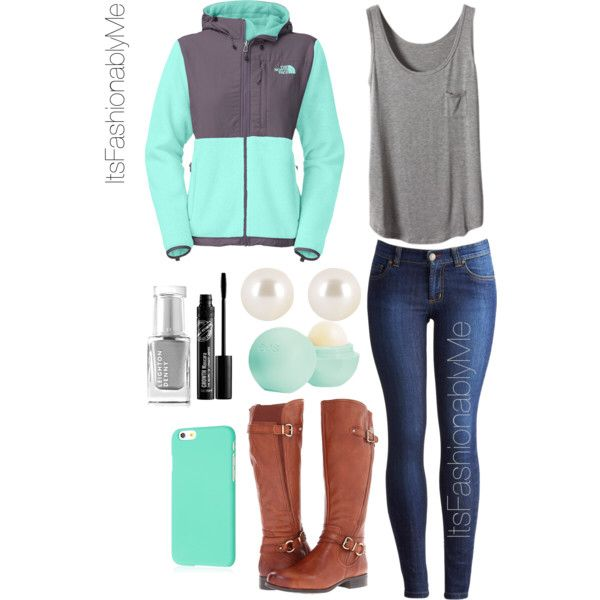 North face outfit, dark wash skinny jeans, a loose grey tank, and riding boots is a trendy outfit for school.