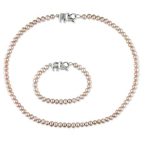 """Sterling Silver Freshwater Cultured Pearl Baby Necklace and Bracelet Set, 12"""" Amazon Curated Collection. $44.00. Length of Necklace: 14 inches Length of Bracelet 5.5. Made in China"""