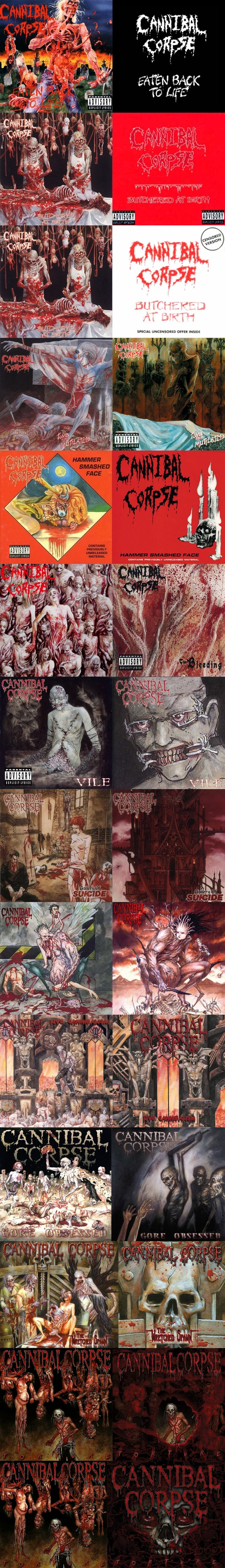 Cannibal Corpse - uncensored and censored versions of their album covers. Put together - me :) P.G.