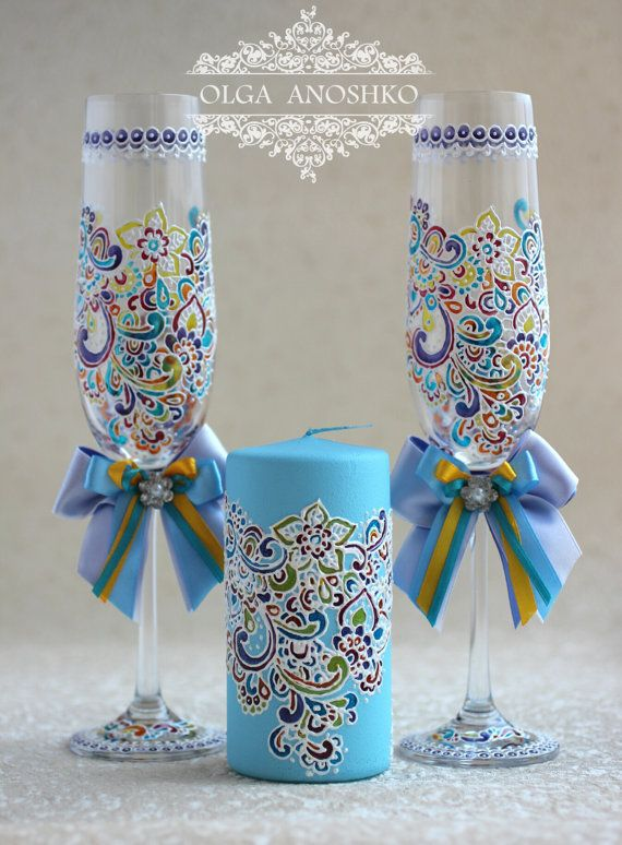 "Personalized Wedding glasses, Champagne glasses and candle ""Whim of the Bride"". Wedding painting."