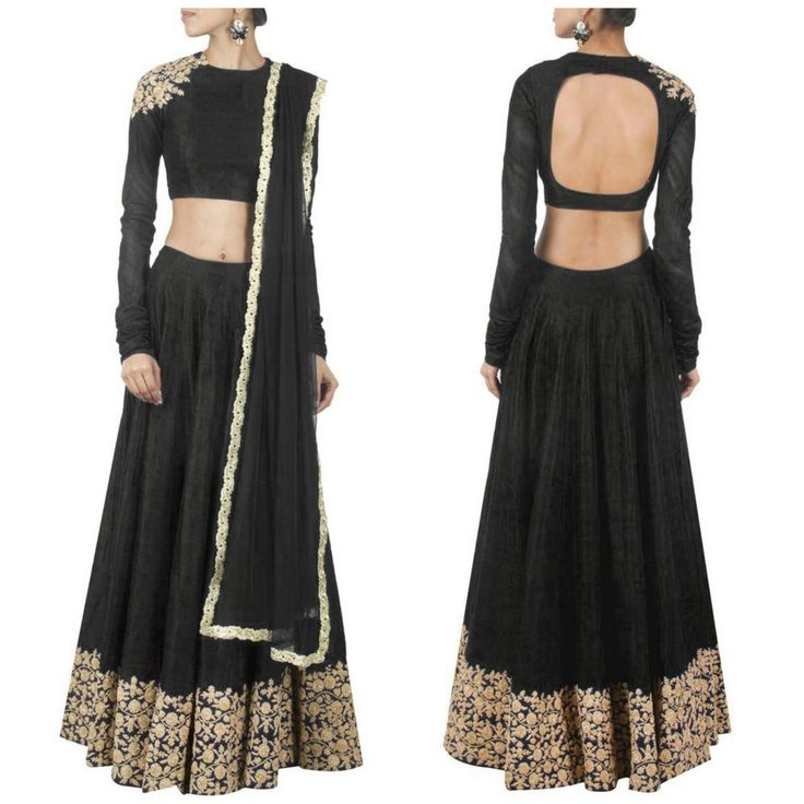 Designer heavy party wear bridal semi - stitched black lehenga choli dupatta | eBay